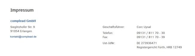 Impressum Complead GmbH