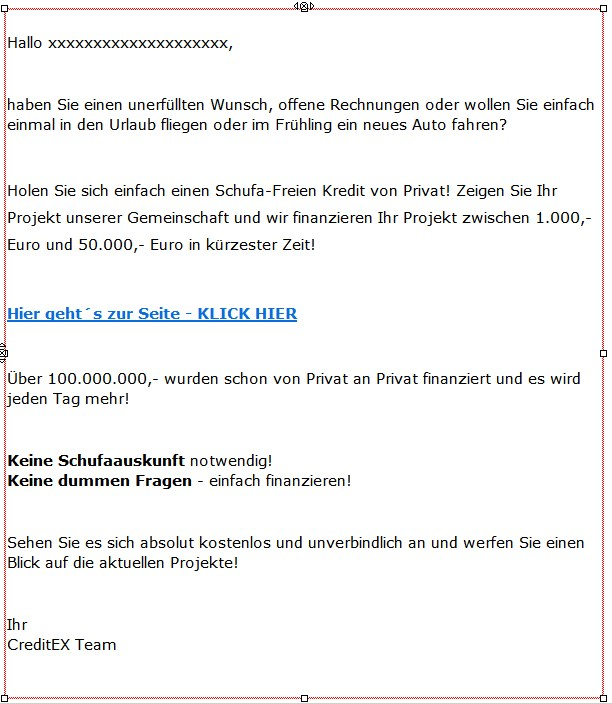 Spam-Mail von Martin Schranz/Arbon/Österreich
