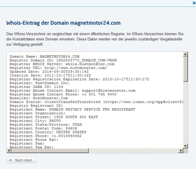 Domaindaten wie immer verschleiert