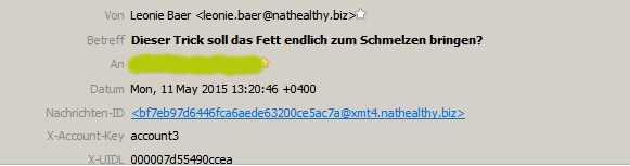 Absenderin der Spam-Mail