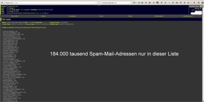 184.000 tausend Spammailadressen