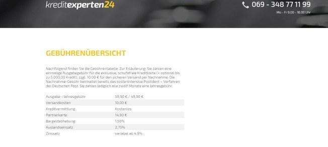 Gebührenübersicht für Kreditexperten24.de