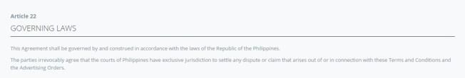 AGB auf das Recht der Philippinen ausgelegt