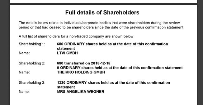 Drei Anteilseigner an Laweko Limited