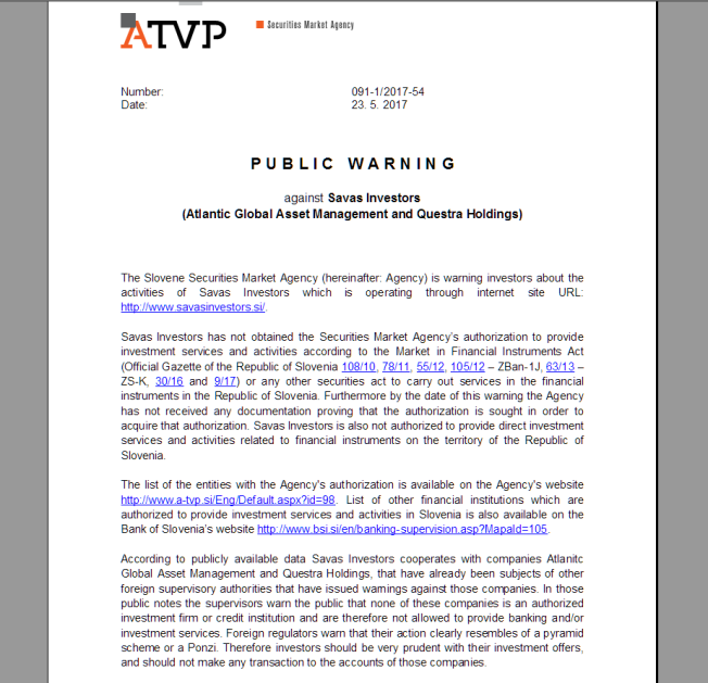 slovenische ARVP spricht Warnung gegen Questra und AGAM sowie Savasinvestors aus