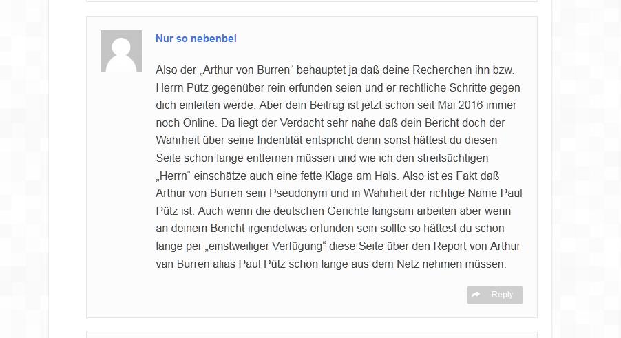 Kommentarlose entgleisung eines Sascha Hönisch